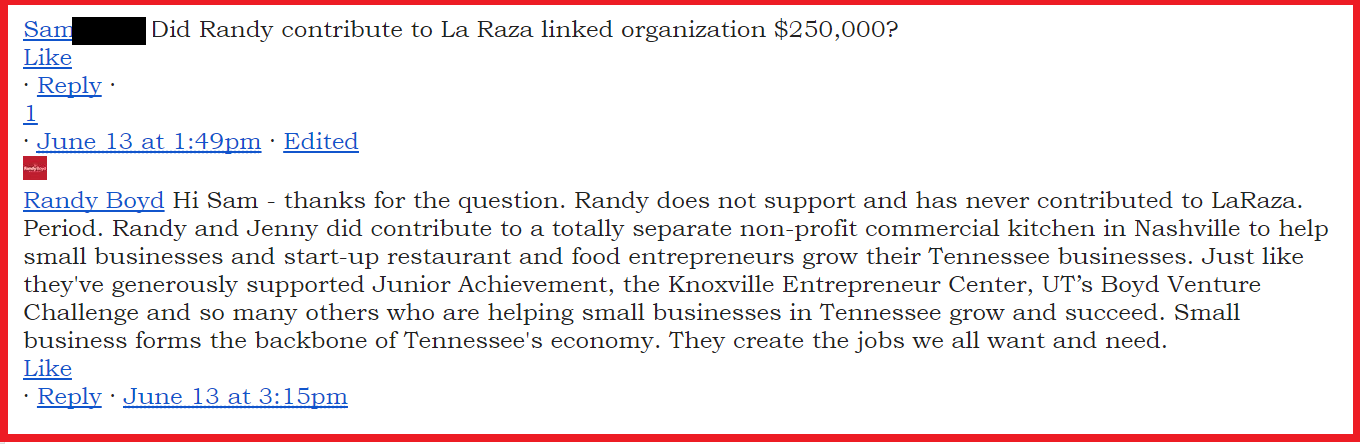 Gubernatorial Candidate Randy Boyd Donated $250,000 to La Raza Affiliate And Has Not Renounced Nashville Sanctuary City Ordinance