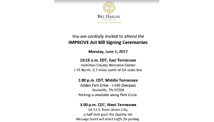 Gov  Haslam Holds Ceremonial Signings Today for Gas-Tax