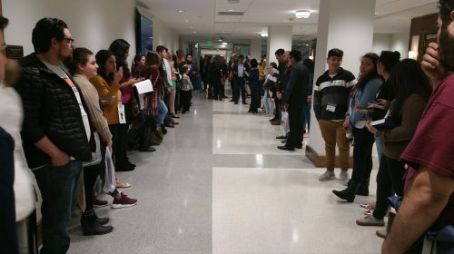 Illegal Immigrant Students line the halls waiting for the Education Subcommittee