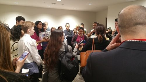 Demonstrators listen for instructions for Education Subcommittee hearing