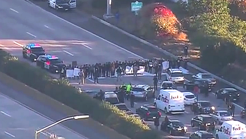 Protesters block traffic