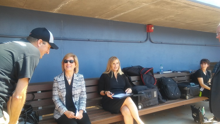 Mayor Megan Barry in the Nashville Sounds dugout on August 21, 2017