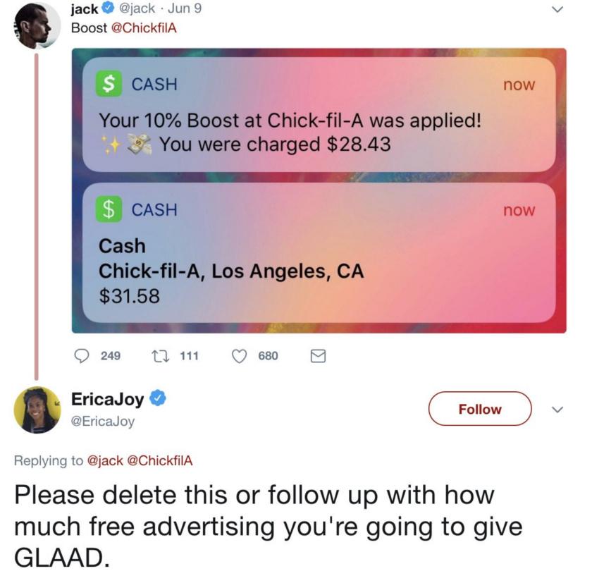 Jack Dorsey tweets Chick-Fil-A