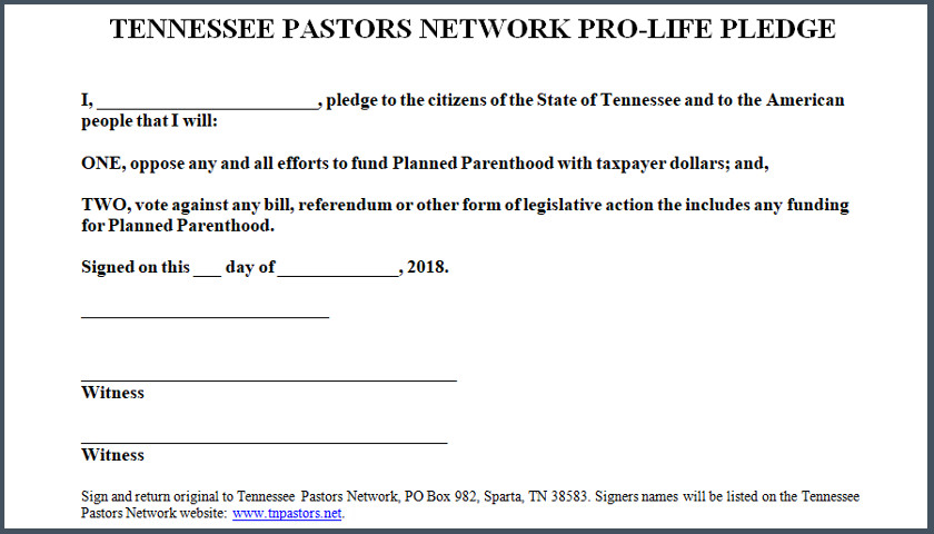 pro life pledge