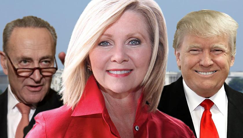 Chuck Schumer, Marsha Blackburn, Donald Trump