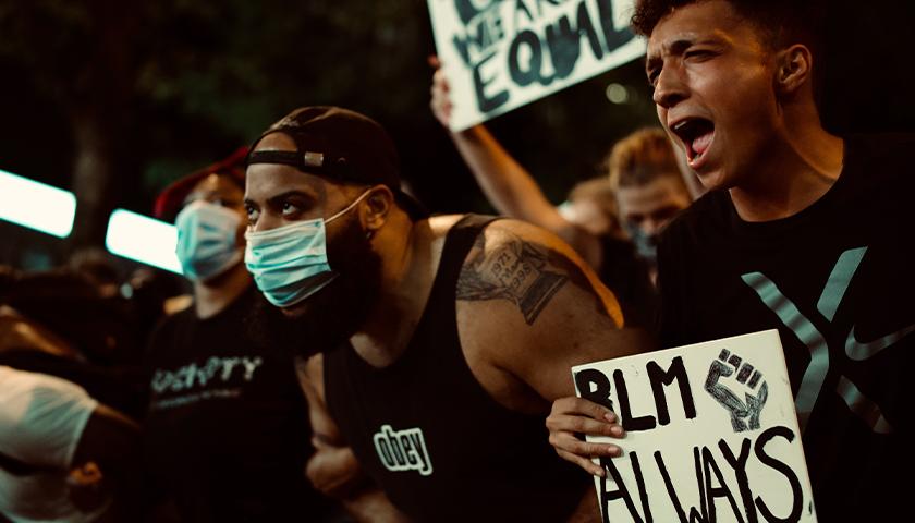 Crowd of Black Lives Matter protestors.
