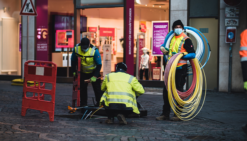 Workers installing broadband internet