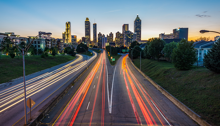 Light trails on a suburban highway