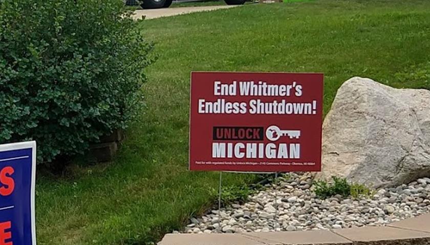 Unlock Michigan sign