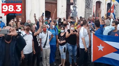 Pro-Cuban government protesters