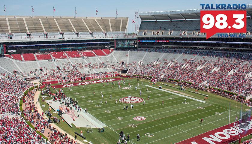 Aerial view of Bryant Denny Stadium, in Tuscaloosa,AL, USA