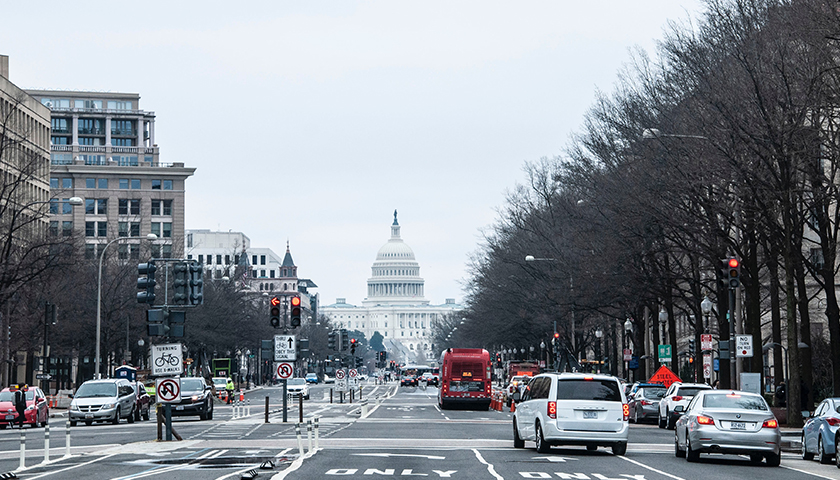 Vehicles on the road in Washington D.C. area