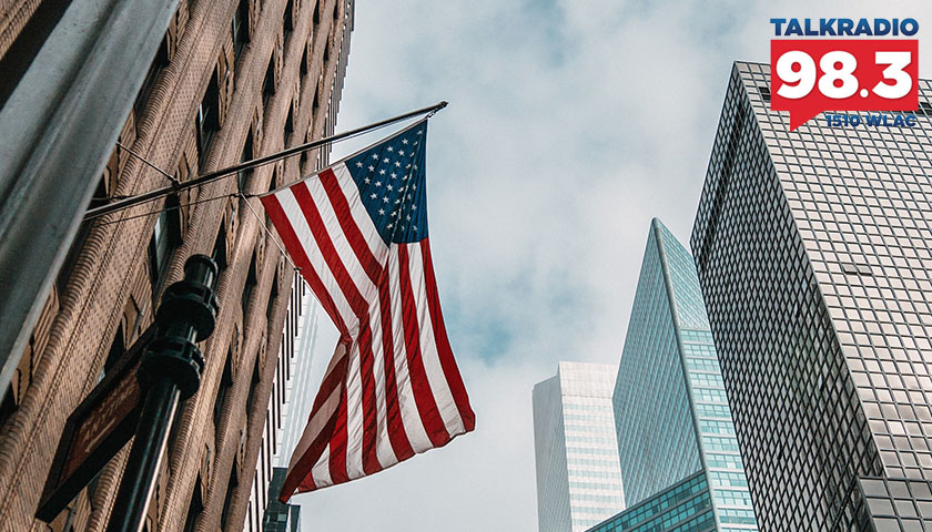 American flag waving in the wind in NYC