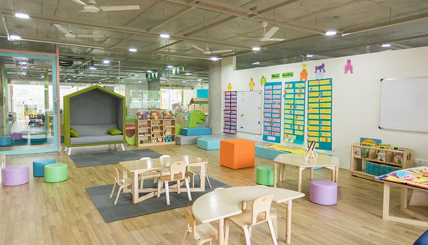 inside of a nursery/daycare facility