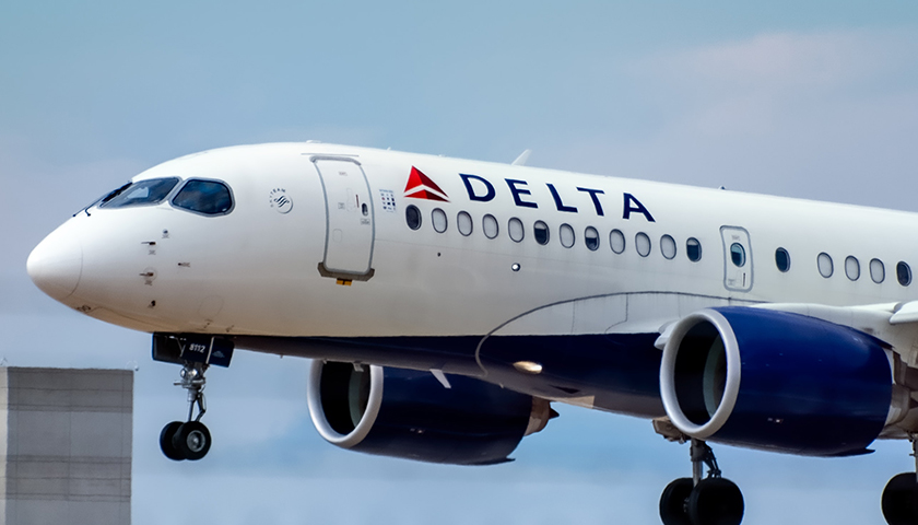 Delta airlines plane taking off