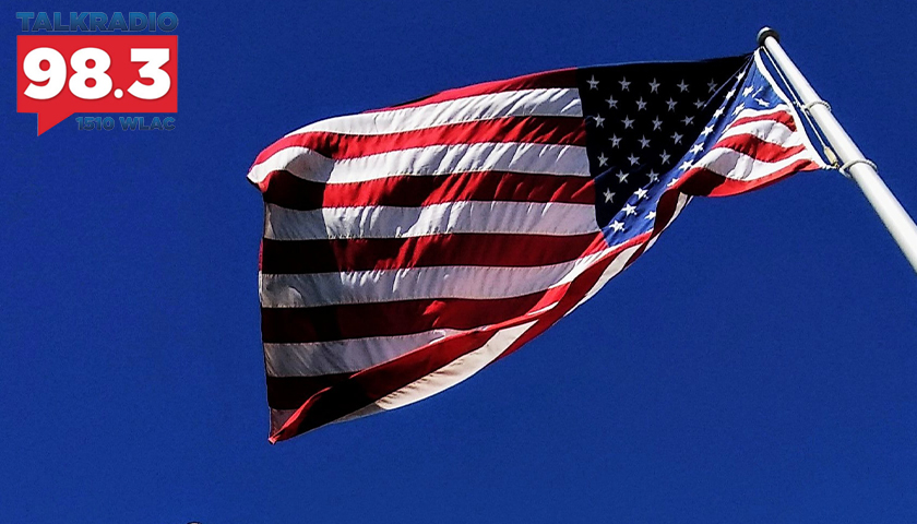 American flag flowing in the wind