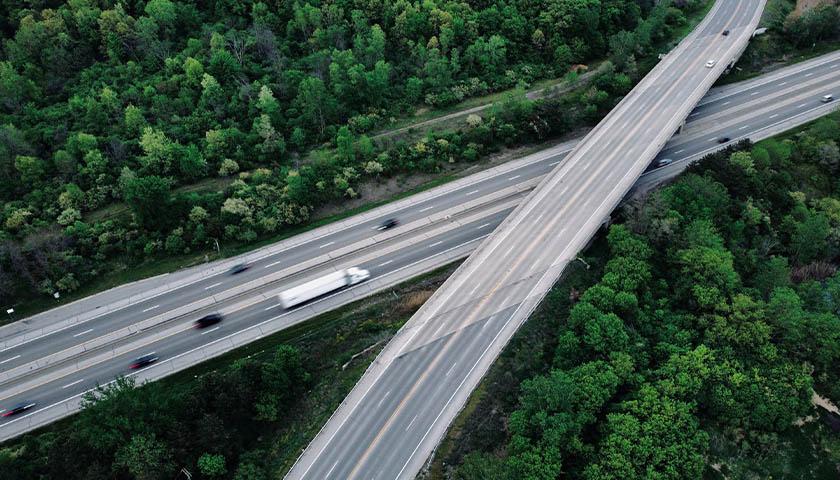 aerial shot of Michigan highways