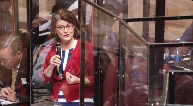 Senator Barbara Favola speaks in favor of the ARPA allocation bill