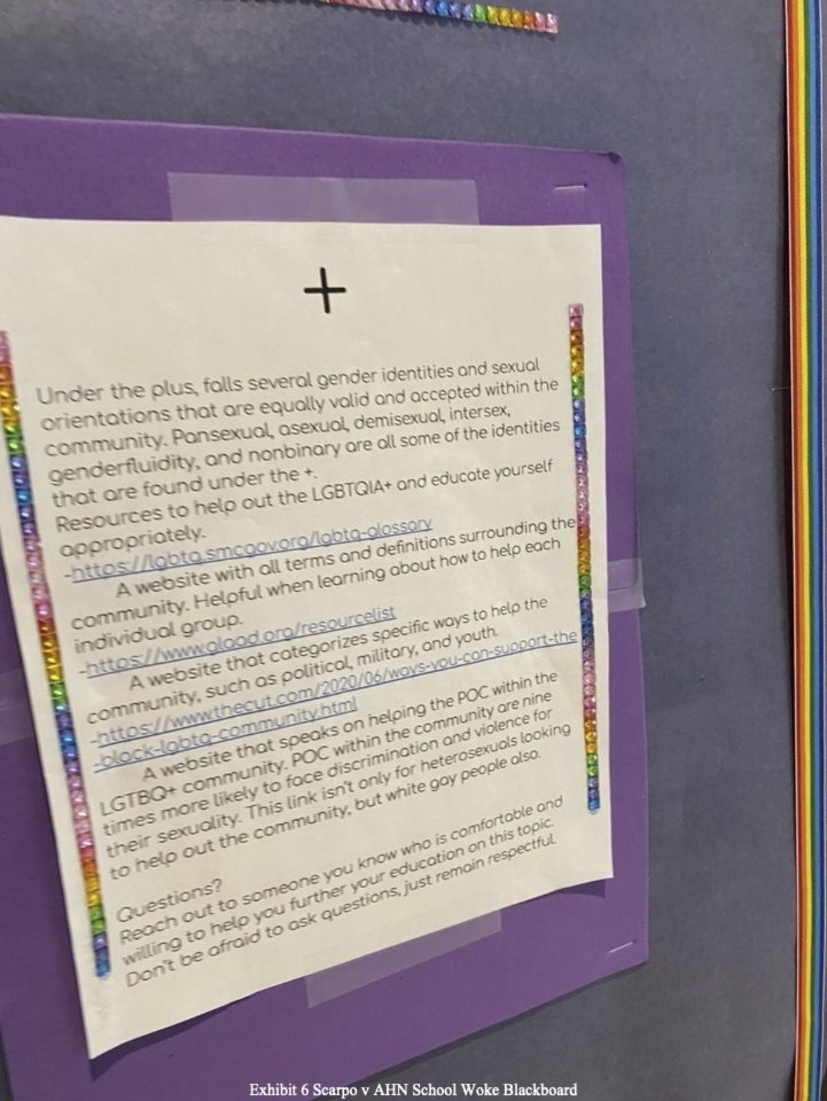 """""""+"""" poster on display at the Academy of the Holy Names. Courtesy of Adam Levine from the lawsuit exhibits."""