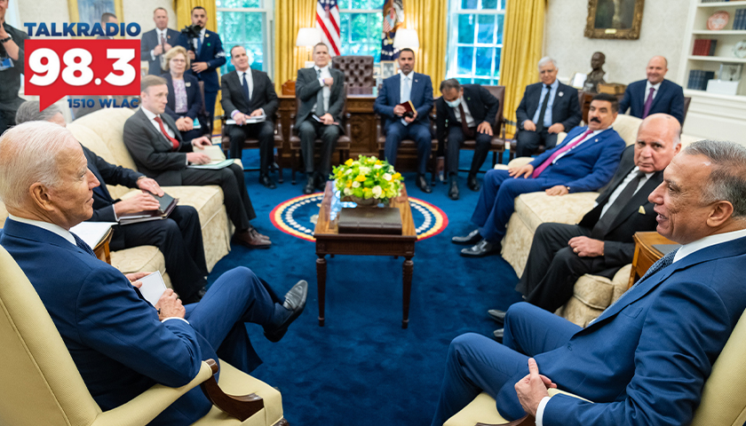 President Joe Biden participates in an expanded bilateral meeting with Iraqi Prime Minister Mustafa Al-Kadhimi on Monday, July 26, 2021, in the Oval Office of the White House. (Official White House Photo by Adam Schultz)