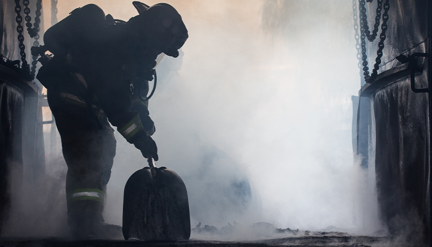 Silhouette of a firefighter in uniform