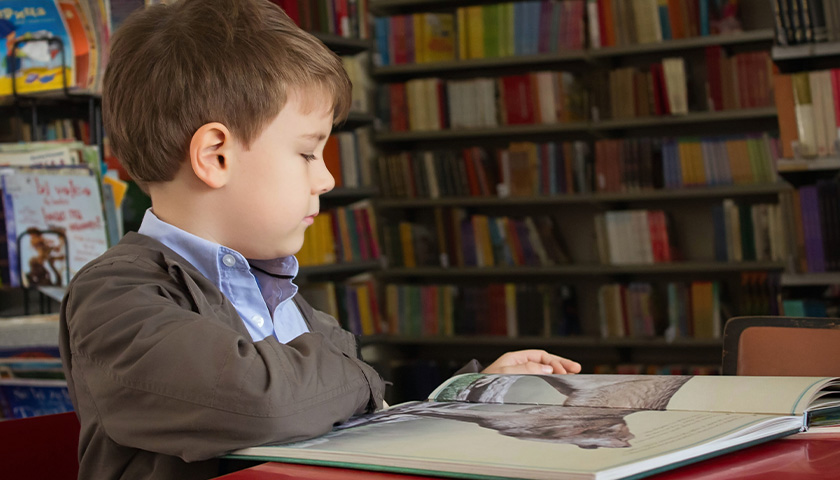 Boy sitting in a library, reading a book