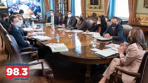Vice President Kamala Harris participates in a meeting on her upcoming trip to Vietnam and Singapore in her ceremonial office in the Eisenhower Executive Office Building, Monday, August 9, 2021. (Official White House Photo by Lawrence Jackson)