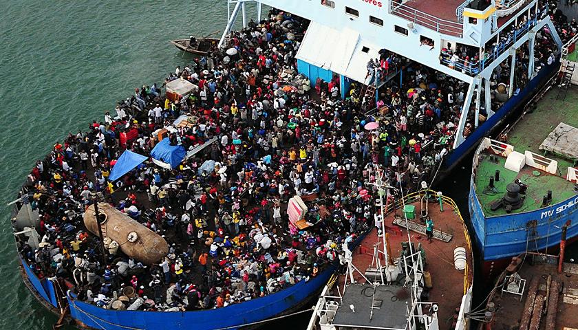 Haitian migrants on a boat