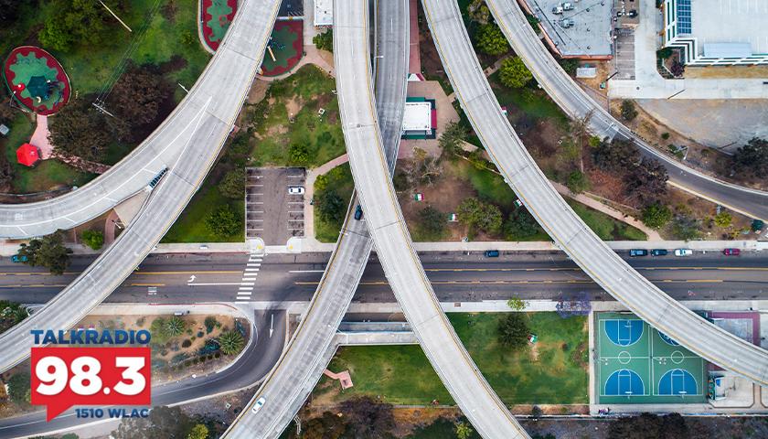 aerial view of multiple highway roads