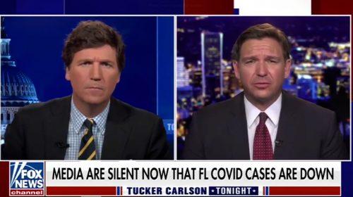 Tucker Carlson interviewing Ron DeSantis on Fox News