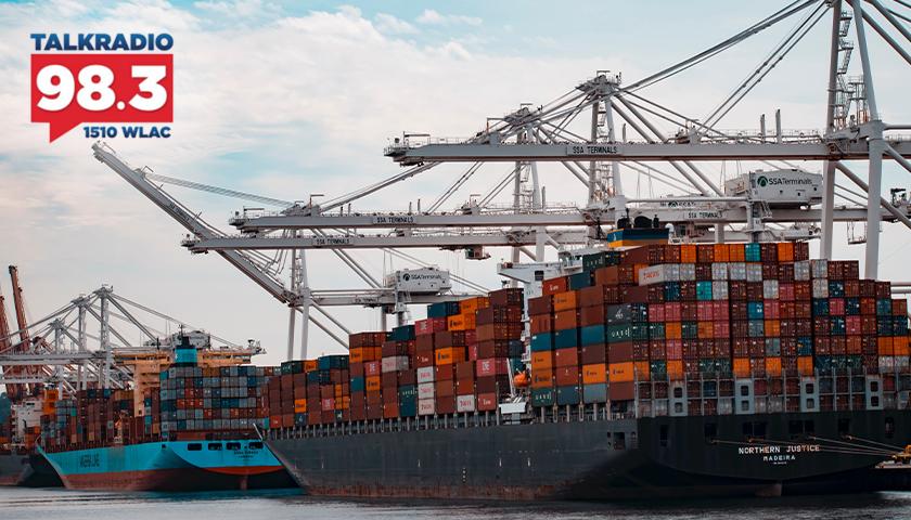 Cargo ships docked