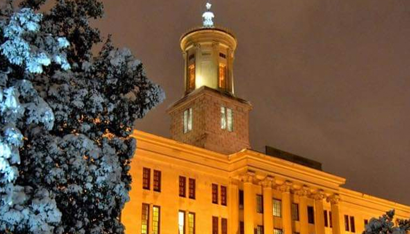 Tennessee State Capitol at night in winter